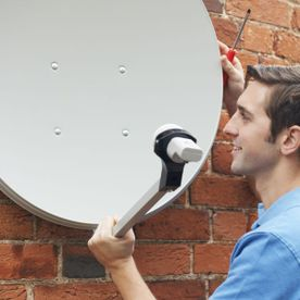 a satellite dish getting installed.